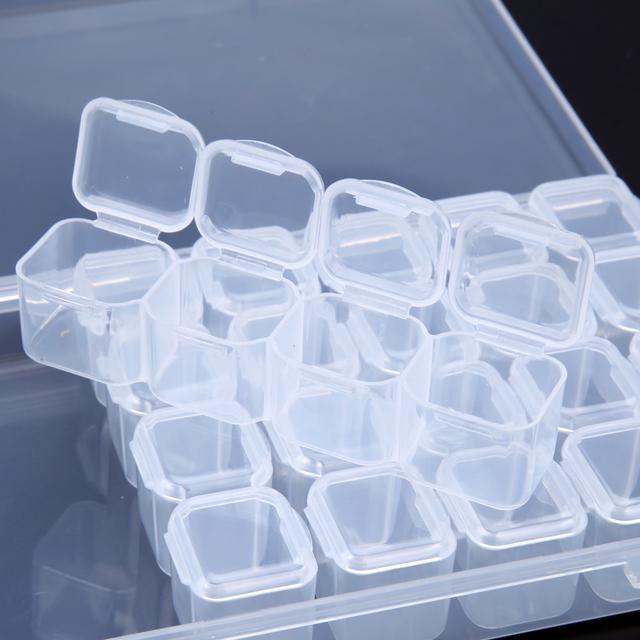 28 Separate Slots Empty Storage Box Clear Nail Art Rhinestones Tools Jewelry Beads Display Storage Box Case Organizer Holder