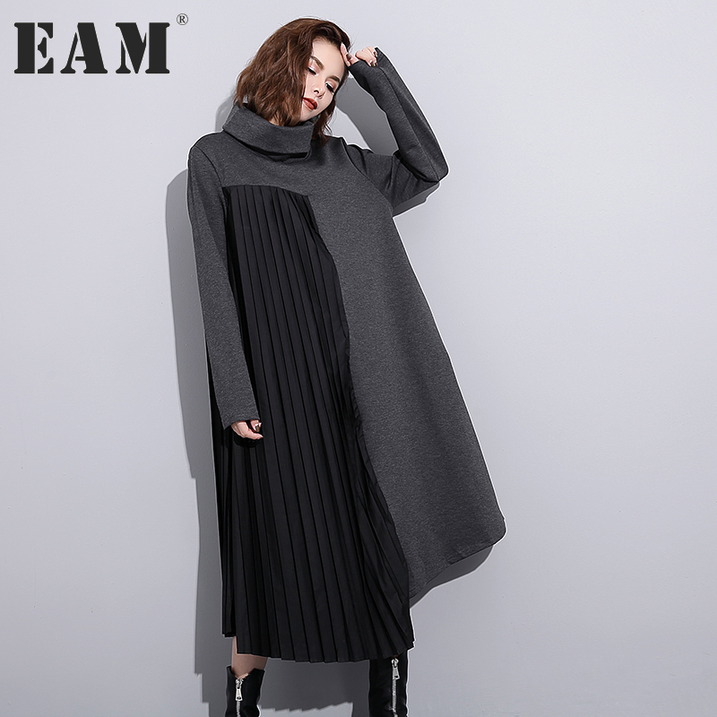 [EAM] 2018 new spring solid color high neck long sleeve pleated split joint loose big size dress women fasihon tide JC74701