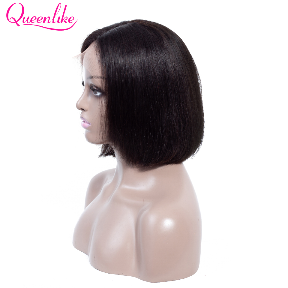 Queenlike Lace Front Bob Wig With Pre Plucked Hairline Brazilian Remy Hair For Black Women Short