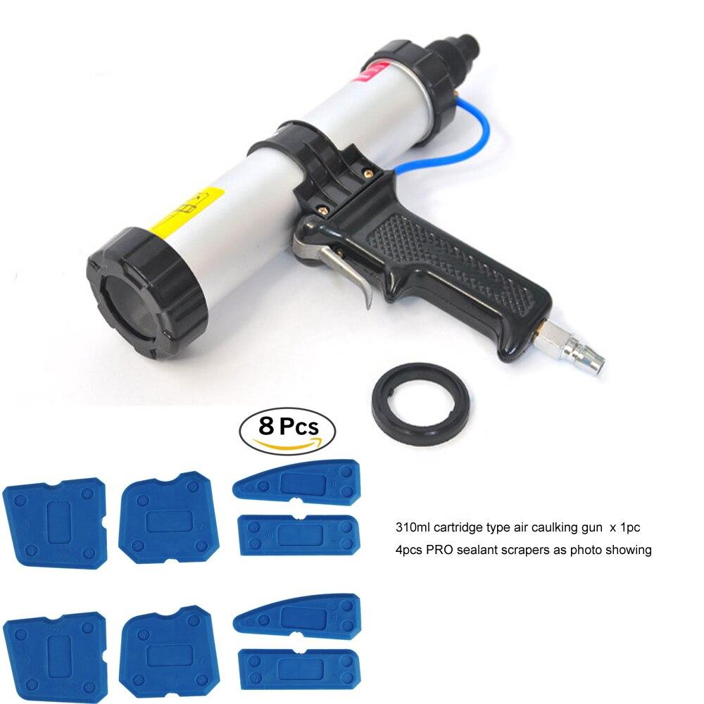 цена на Pro 310ml Cartridge Pneumatic Applicator with Pro Silicone Sealant Scraper Plastic Sealant Wiper Caulking Tool Kit for Builders