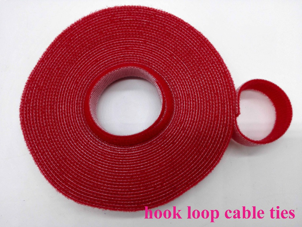 2rolls red 15mm*5M Reusable Cable Ties Nylon Cable Tie Self-gripping Strap Stick Ties Computer PC TV Wire Management magic tape
