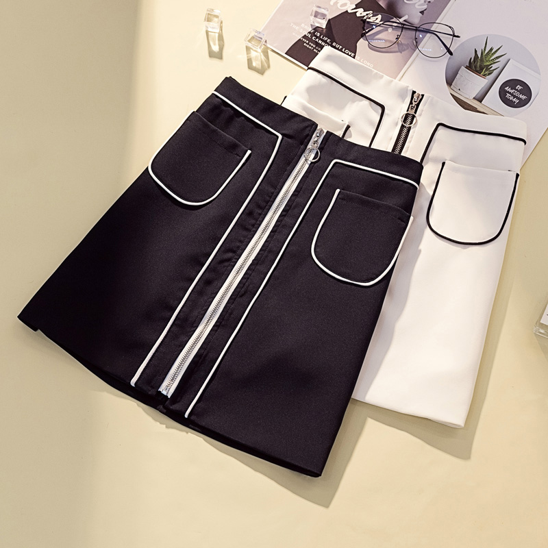 L-4XL Plus Size Women Solid Color Chic Skirts Summer 2019 Fashion Front Zipper High Waist A-Line Mini Skirts with Pockets(China)
