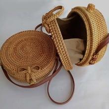 2019 Fashion Round Straw Bags Summer Style Women Handbags Bohemian Rattan Crossbody Bags Handmade Woven Beach Circular Bags