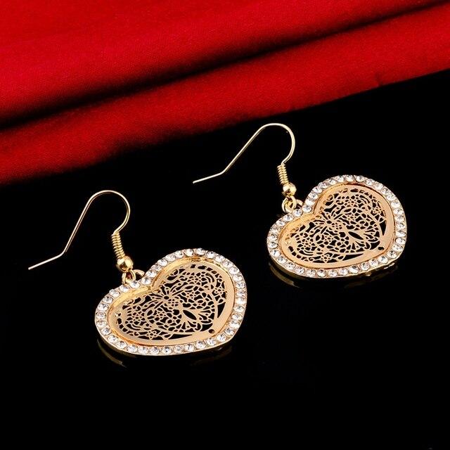 chicvie винтажные золотые серьги в форме сердца камни для женщин фотография