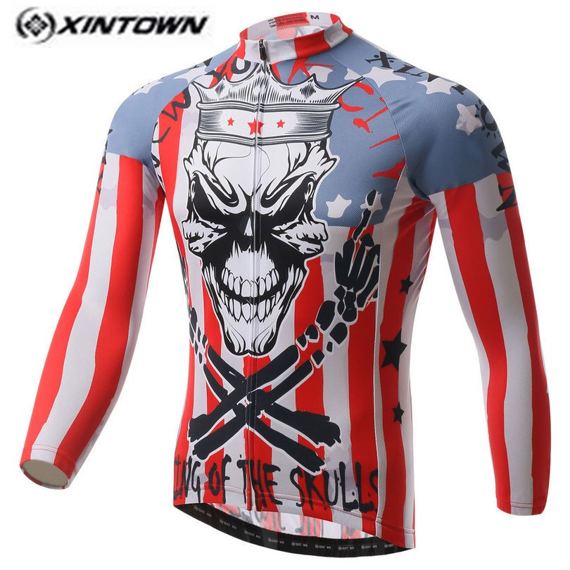 XINTOWN White Men Bike Long jersey Pro Team Cycling clothing Riding Top Male MTB Ropa Ciclismo Wear Maillot Long Sleeve Shirts