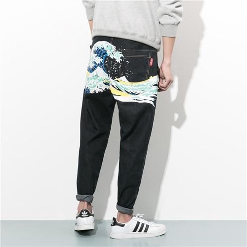 Teenage the trend of denim trousers personality long male loose skinny jeans black harem pants grey 2015 spring male personality splice skinny pants the trend straight trousers slim long trousers thin men skinny jeans