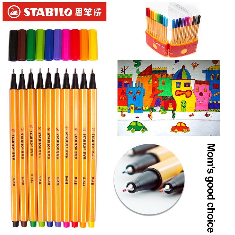 stabilo Watercolor Pen Marker Watermark Fiber Color Hook Line Drawing Pen Caneta Para Tecido Black Marker School support supplie touchnew 60 colors artist dual head sketch markers for manga marker school drawing marker pen design supplies 5type
