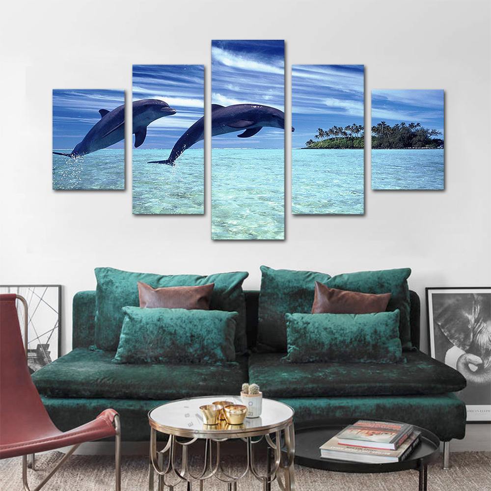 Unframed HD Print 5 Canvas Art Painting Dolphins Living Room Decoration Spray Painting Mural Unframed Free Shipping