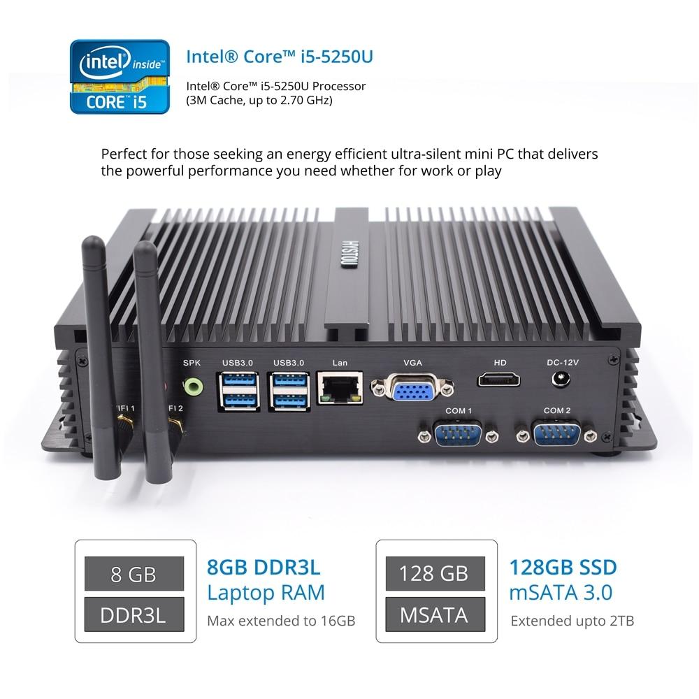 Hystou Fanless Industrial Mini PC Windows 10 I5 4200U I3 5005U I7 5550U Small Computer Host 1 LAN 1 VGA SO-DIMM DDR3L Memory