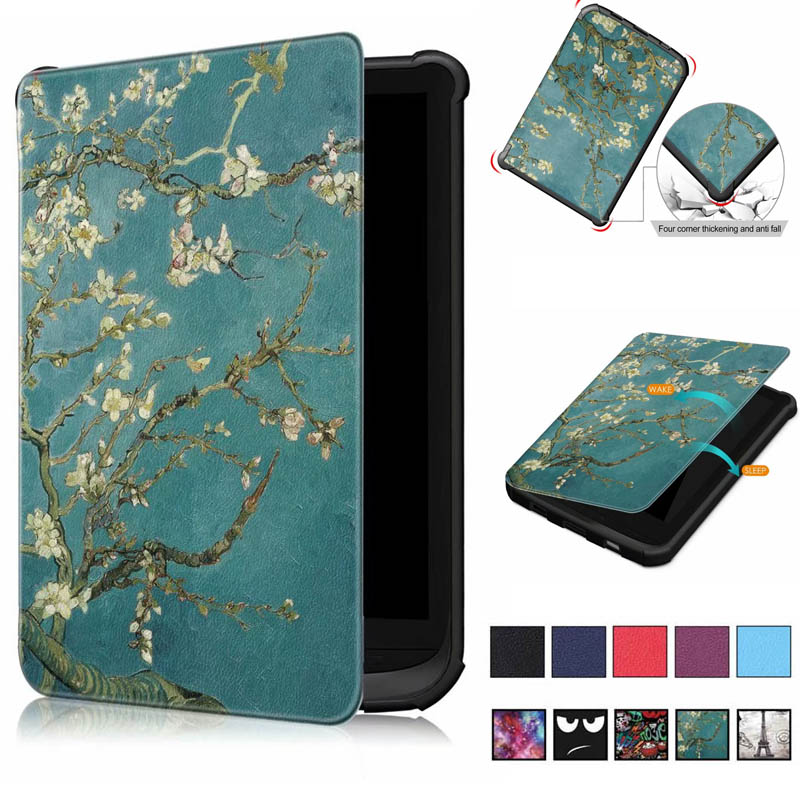 Painted Smart Case For Pocketbook 616/627/632 6'' Book Case For PocketbooBasic Lux2 Book /touch/lux4 Touch Hd 3 Cover Case