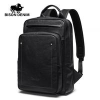 BISON DENIM High Quality Cowskin Leather Men's Backpacks Large Capacity Laptop Backpacks For Male Travel Bags For Teenager N2772