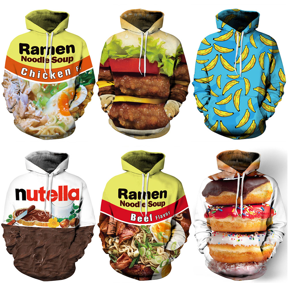 New 016 Ramen Nutella Donut Hambourg Beer Printed Women Hoodie Hooded Femme Sweatshirt Casual Loose Men Pocket Hoodies Coat