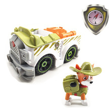 Paw Patrol Dog Tracker Puppy Pull Back Music Car Patrulla Canina PVC Doll Toys Action Figure Model Toy Kid Gift
