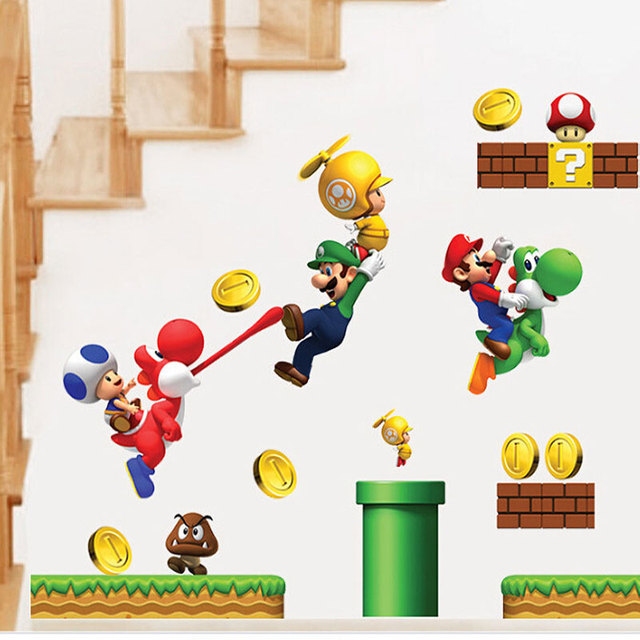 Мультяшные наклейки Супер Марио на стены в детской комнате домашний декор