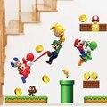 Pegatinas de dibujos animados Super Mario pegatinas de pared para cuartos de los niños niños pegatinas de pared decoración para el hogar dormitorio