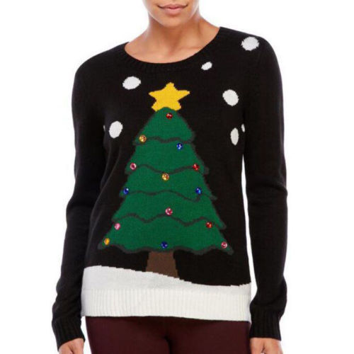Christmas Casual Women Long Sleeve Sequined Knitted Sweater Women Christmas Tree Outwear Jumper Sweater Pullover Tops