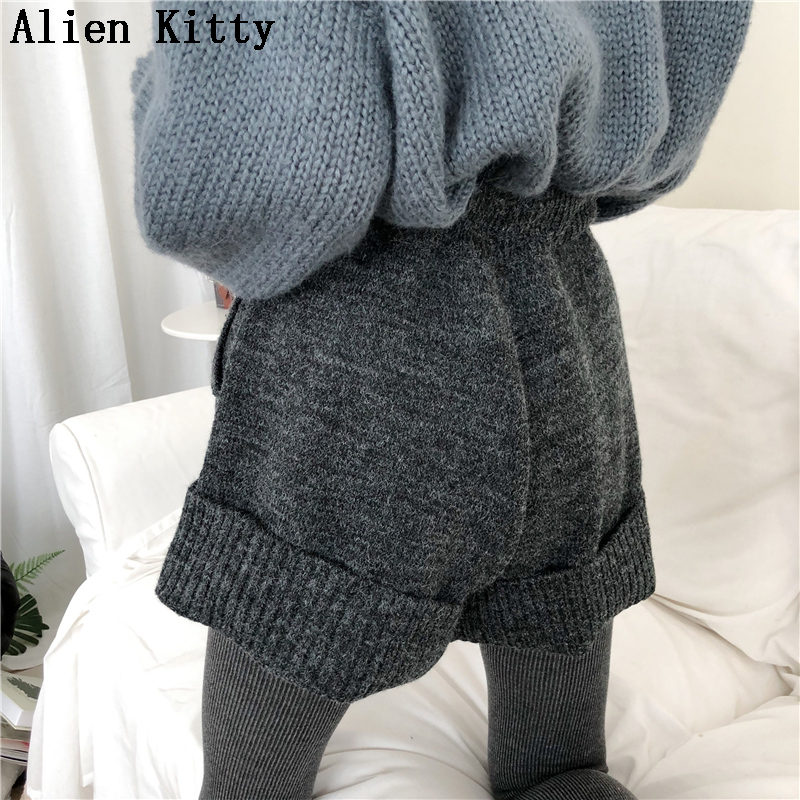 Alien Kitty New Winter Knitted High Quality High Waist   Shorts   Women Cotton Fashion Loose Casual Free Sexy   Shorts   Solid Female