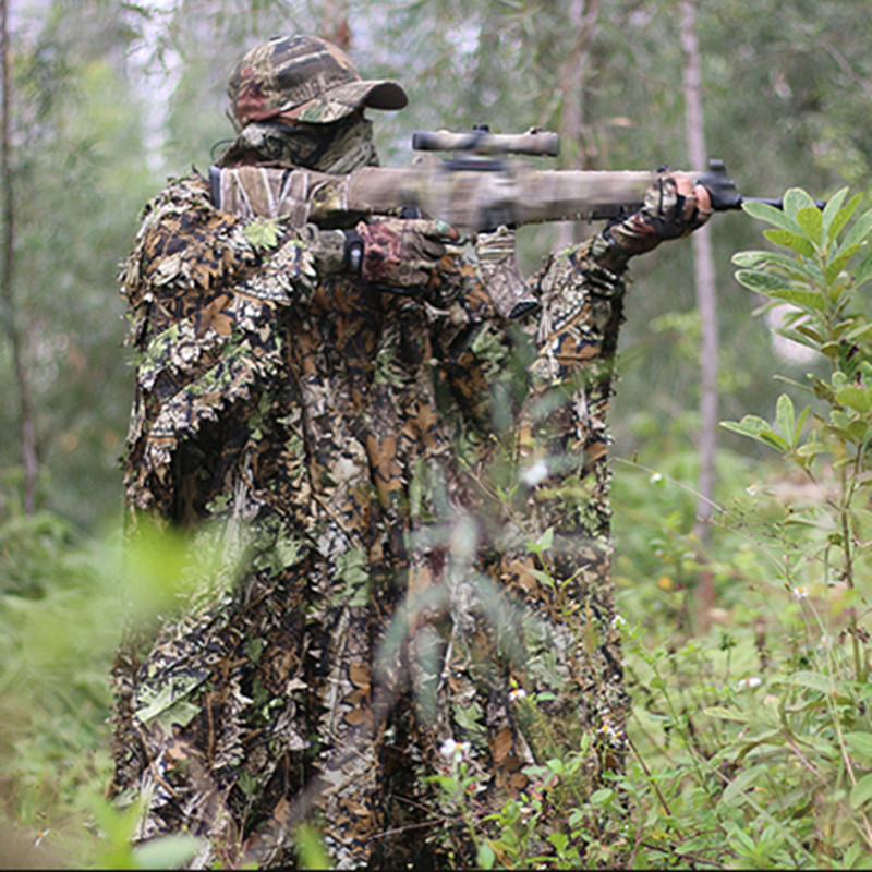 Sniper CS Bionic Camouflage Poncho Men 3D Maple Leaf Camo Poncho Ghillie Suits <font><b>Jungle</b></font> Woodland Hunting Clothes Birdwatching image