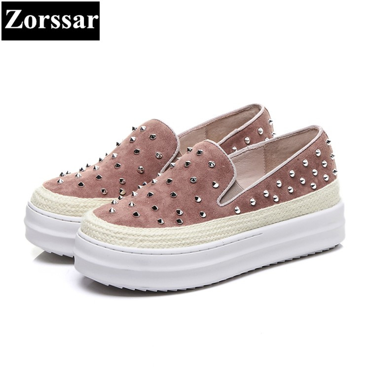 {Zorssar} 2018 high quality womens flats shoes Fashion rivets Genuine leather woman loafers casual slip-on women platform shoes 2016 new spring thick bottom mesh glitter design fashion casual shoes platform high quality loafers slip on women flats