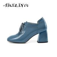 AIKELINYU Fashion Women Blue Shoes 2019 Genuine Leather Heels Shoes Pumps Women Shoes Ladies Wedding Shoes Bride WomenSize 34 43
