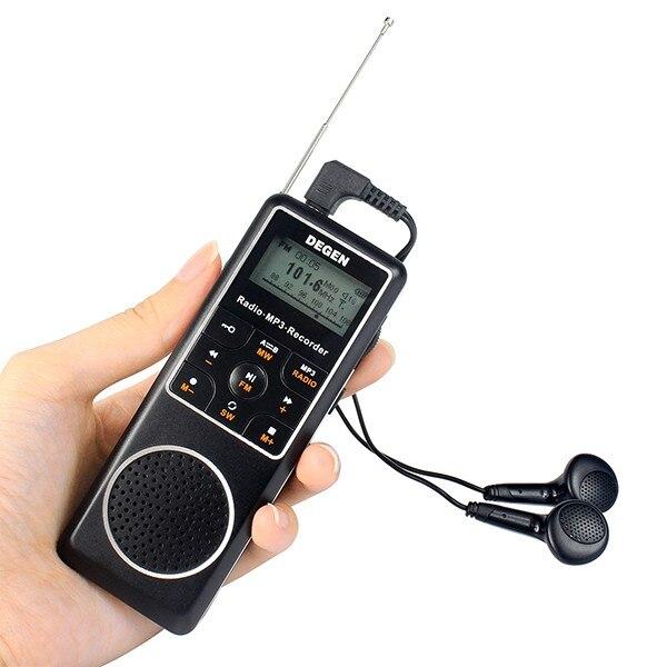 DEGEN DE1127 Mini Numérique radio 4 GB MP3 Lecteur et Enregistreur Vocal avec FM Stéréo degen récepteur MW SW AM Ondes Courtes Radio Degen