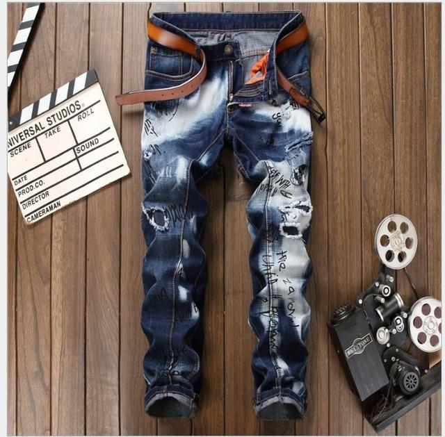 Americana Jeans Empalmado Populares Hombre Marca 2017 De Agujero Vaqueros Rectos Europeo Famosa Para Estilo Moda xUvxwqpnIE