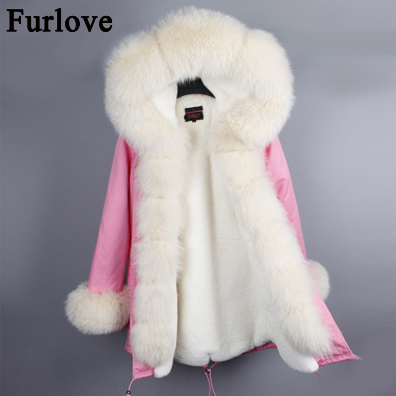 Furlove 2017 winter jacket women new long parka real fur coat large fox fur collar hooded parkas thick outerwear stree style real fox fur liner winter jacket women new long parka real fur coat big raccoon fur collar hooded parkas thick outerwear