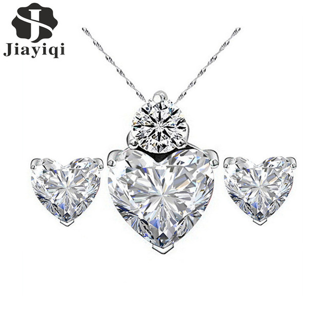 Crystal Cubic Zircon Love Heart Necklace and Earrings