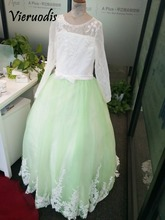 3840 Long sleeve lace appliques girls pageant dresses lavender flower girl gowns in stock