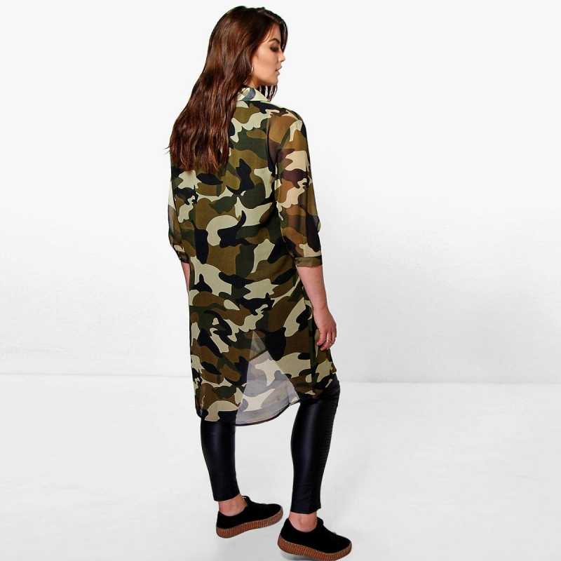 51180046f62 ... 2018 Spring Street Camo Print Plus Size Women Clothing Casual 3 4  Sleeves Beach Oversized ...