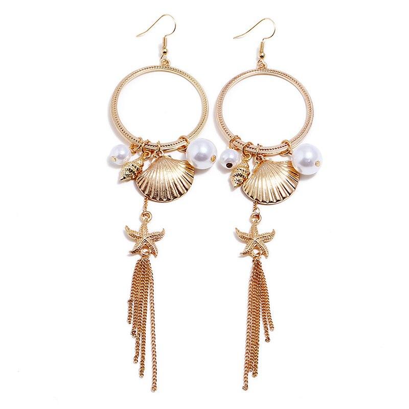 2018 New Fashion Gold Color Vintage shell starfish long tassel drop earrings for women imitation pearl Dangle earring