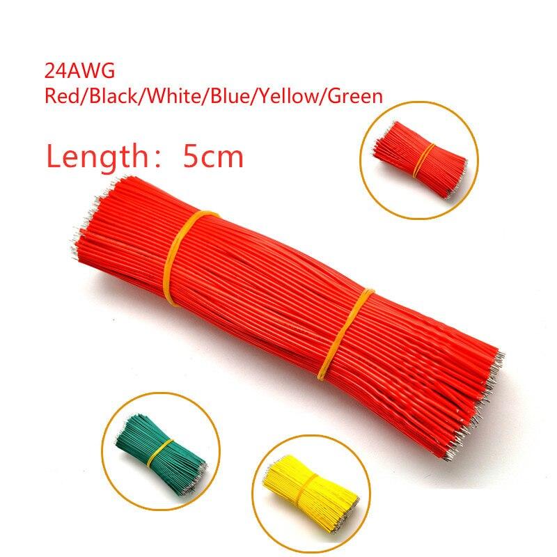 50 шт./лот Оловянная макетная плата перемычка Кабель провод 50 мм 24AWG для Arduino 6 цветов гибкий двухсторонний ПВХ провод 5 см