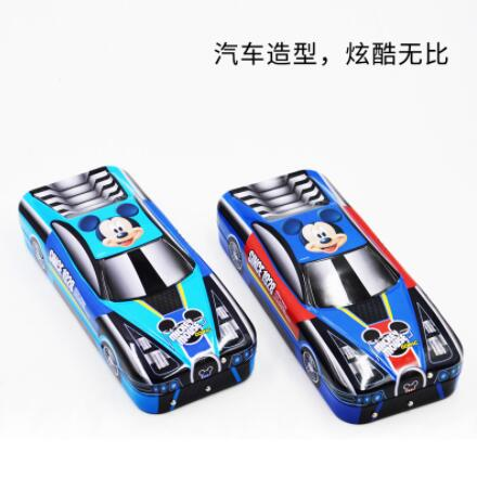 Disney Mickey Mouse Pencil Case Metal Car Shape With Wheel Children Student Learning Stationery