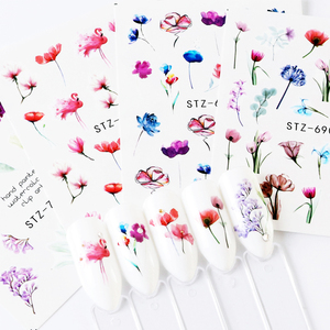 Image 3 - 1pcs Floral Slider Water Stickers Decal For Nail Art Transfer Tattoo Flamingo Leaf Gel Manicure Adhesive Decor Tip CHSTZ508 706