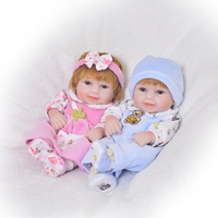 New Fashion Full Silicone Vinyl 11 Inch Mini Cute Baby Reborn Twins realistic Handmade Baby Girl and Boy Dolls Free Shipping