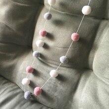 Home Decor Hanging Nursery Balls Pom Pom Garland Wool Felt String Handmade Kids Children's Room Wall Ornament Decorative Gifts