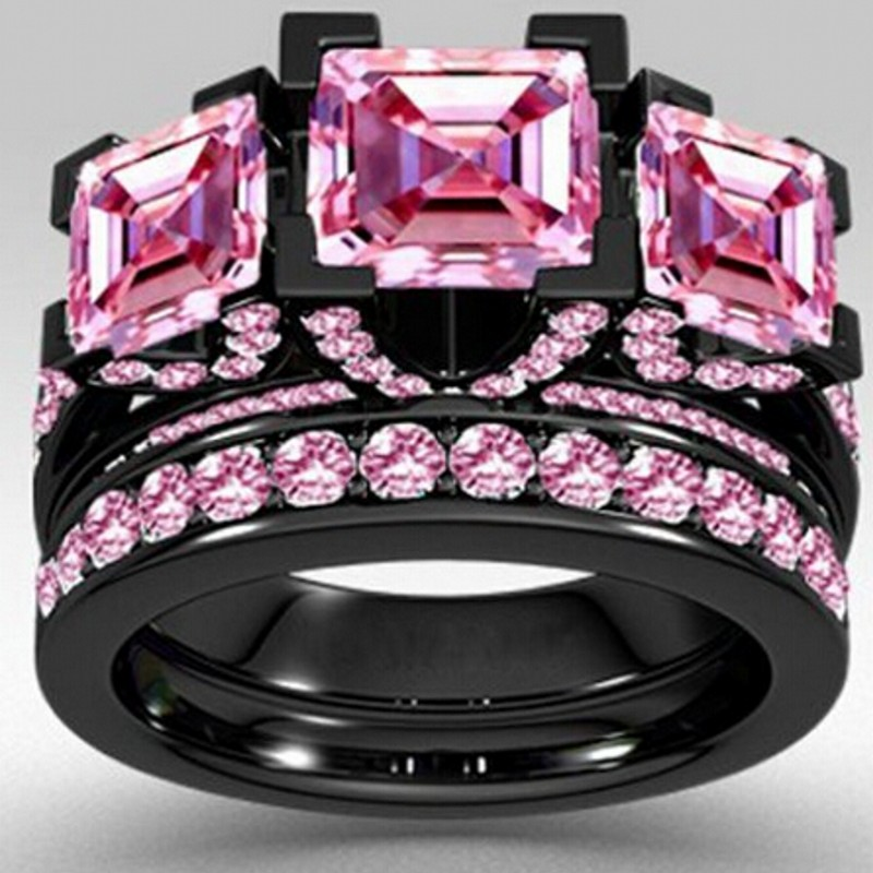 choucong style princess cut 6ct pink sapphrie simulated diamond black gold 925 sterling silver engagement wedding