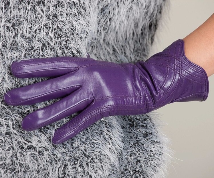 High Quality Women Genuine Sheepskin Winter Women Leather Gloves Lady knitting lined Warm Winter Mittens women gloves 52