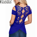 ZANZEA 2017 Summer Blusas Sexy Women Blouses Lace Crochet Short Sleeve Backless Off Shoulder Split Tops Blouse Shirt Plus Size