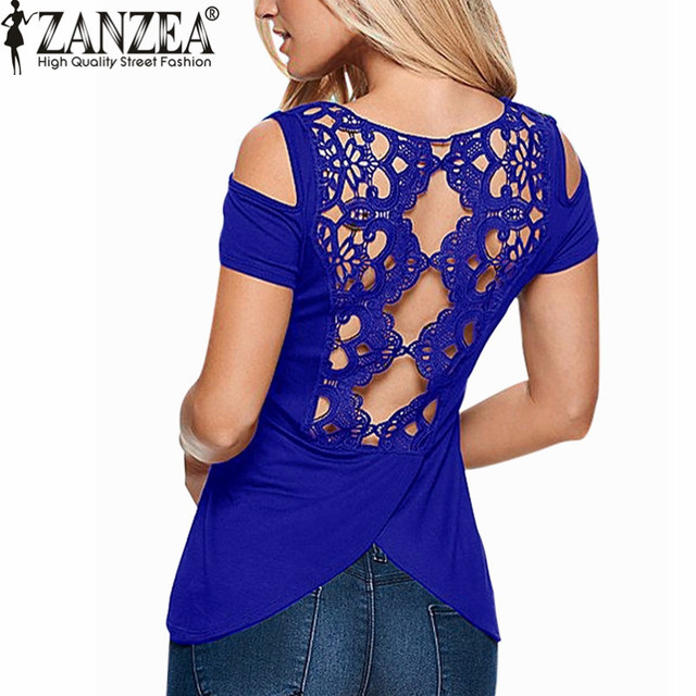 fc978ce9064 ZANZEA 2018 Summer Blusas Sexy Women Blouses Lace Crochet Short Sleeve  Backless Off Shoulder Split Tops