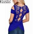 Zanzea 2017 verão blusas sexy mulheres blusas de crochê rendas manga curta sem encosto fora do ombro dividir tops camisa blusa plus size