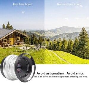 Image 2 - 7 cámaras artesanas parasol de lente de 46mm con ventilación de Metal para 7 artesanos 25mm f1.8 para Sony para lente Leica Canon Nikon negro