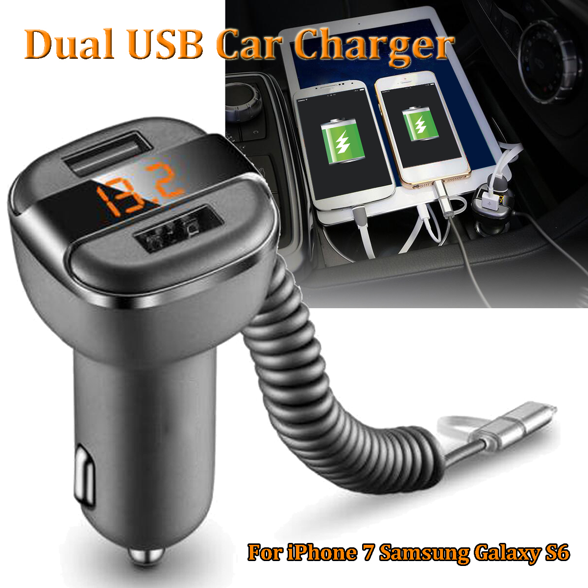 Universal 5V 3.4A Dual USB Port Car Quick Charger Adapter Multifunction LED Display Charger for Phone for Samsung