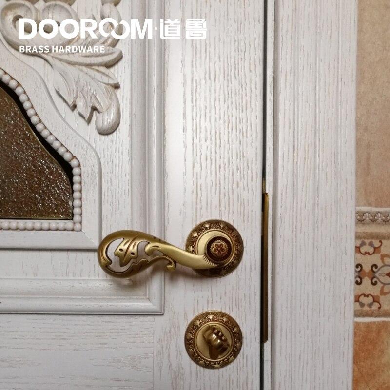 Dooroom laiton porte levier américain pastorale français européen Roman gravure solide bois porte serrure chambre Split laiton poignée bouton