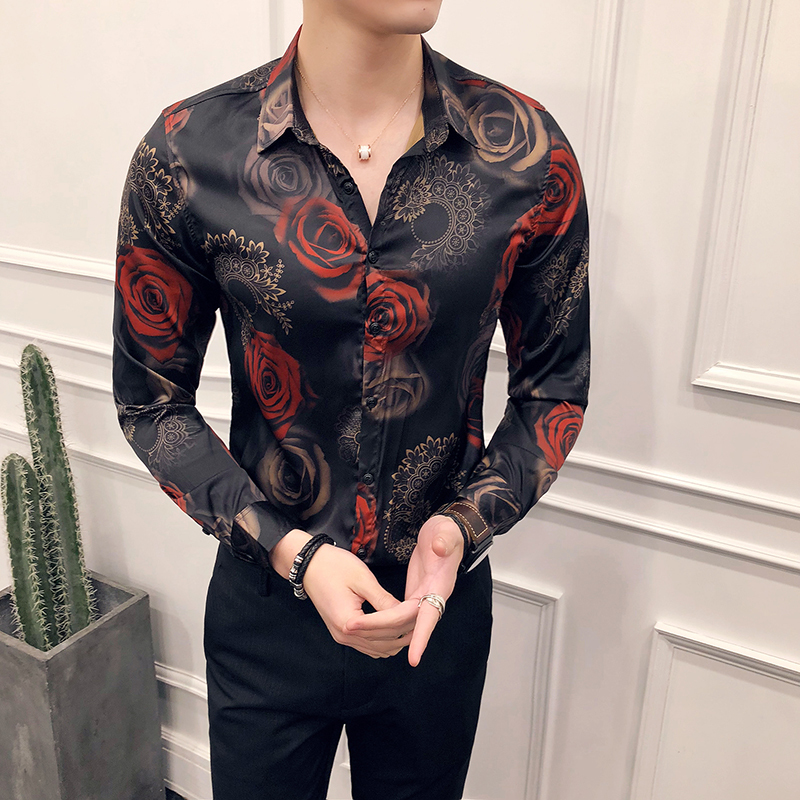 2018 Rose Print Floral Shirt Men Camisa Masculina Slim Fit Hawaiian Shirt Long Sleeve Flower Slim Fit Pron Club Party Shirt