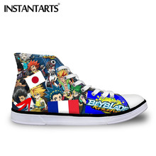 INSTANTARTS Men Vulcanize Canvas Shoes Beyblade Burst Game Print Male Boy Breathable High Top Flats Shoes Classic Lacing Sneaker