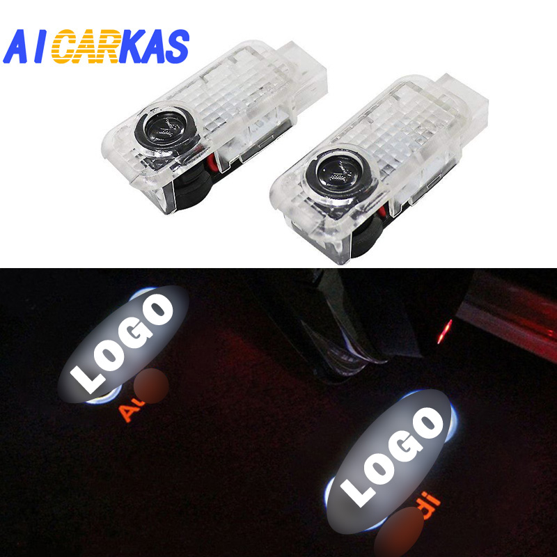 AICARKAS 2 PCS Car Door LED Logo Light Welcome Lamp for Audi A8 A6L A5 A6 C5 A4L A3 A4 B5 A1 R8 TT Q5 Q7 A6L Door LED Logo Lamp