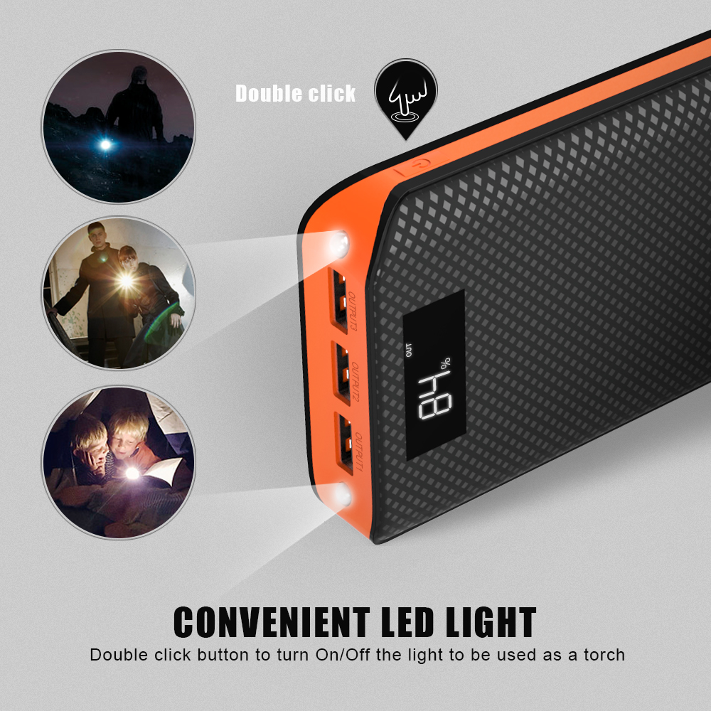 Power Bank 20000mAh External Battery Pack Triple USB Output Charging 3 Devices at the Same Time with LCD Display Fast Shipping in Power Bank from Cellphones Telecommunications