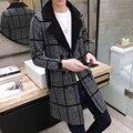 O envio gratuito de inverno dos homens do estilo Britânico xadrez falso lã longa seção Coreano Metrosexual jaqueta casual dos homens casaco de malha