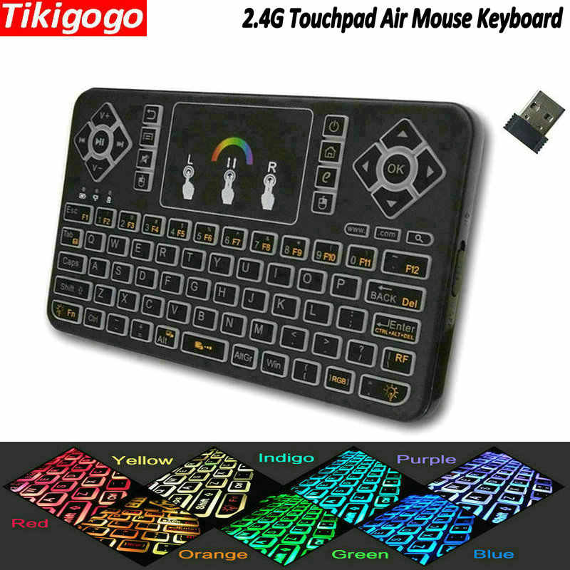 Tikigogo TK55 Backlight 2.4G Wireless Mini Keyboard Touchpad Udara Mouse PK I8 untuk Android Smart TV Box PC Windows remote Control